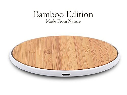 SurgeDisk Wireless Charger Bamboo Qi Charging Pad Ultra Slim & Sleep-Friendly Universal Newest Model for iPhone X iPhone 8 Plus iPhone 8 Samsung Galaxy S8+ S8 S7 S7edge S6 & all Qi enabled devices