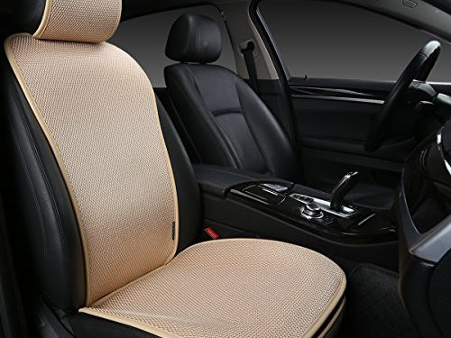 Protection car leather seat Upgrade-Beige – EDEALYN 1 piece Breathable Ultra-thin Ice silk Non-slip Car Seat Cushion Car Seat Cover Car interior decoration