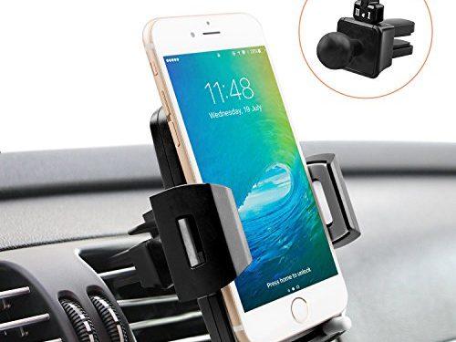 Universal Car Phone Holder, Quntis iPhone Car Holder 360 Rotation Air Vent Holder Mount Cradle for iPhone X 8 8 Plus 7 7 Plus 6s 6 Plus 6 5s 5 SE Samsung Galaxy S6 S5 S4 LG Sony  Elegant Black