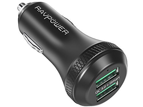 Quick Charge 3.0 RAVPower 40W 3A Car Charger Adapter with Dual QC USB Ports for Galaxy Note8 / S8 / S8+ / S7 / S6 / Edge / Plus / Note 5 / 4, Pixel, Nexus, HTC 10, LG V6 / V20 and More