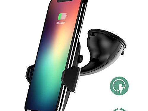 Wireless Car Charger, Auckly Qi Fast Wireless Charger Car Phone Holder,With Type C Cable Port Car Charger Mount Stand for Samsung Galaxy Note 8 S8 Plus S8 S7 S7 Edge Note 5 and iPhone X,iPhone 8/ Plus