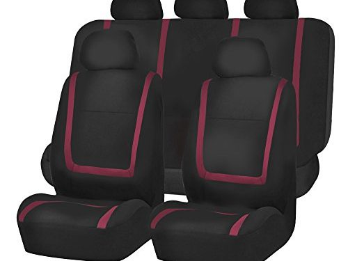 FH GROUP FH-FB032115 Unique Flat Cloth Seat Covers, Burgundy / Black Color- Fit Most Car, Truck, Suv, or Van