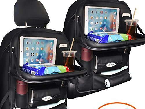 2 Pack PU Leather Car Backseat Organizer for Baby with Tray Foldable Dining Table Desk SUASI Back Seat Tablet Ipad Holder Tissue Storage Bag Pockets for Kids Travel2 Pack
