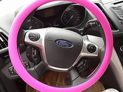 OHF Steering Wheel Cover Auto Car Silicone Great Grip Anti-slip Steering Cover for Diameter 36-38cm/14-15inchRose Red