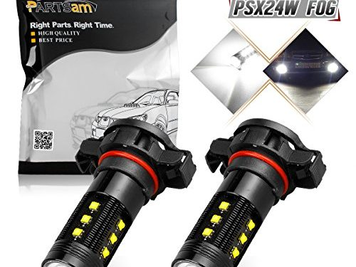 Partsam 1 Pair Cree PSX24W 2504 12276 75w White 6000K Fog Light Driving Lamp With High Power Cree LED w/ in-bulit IC Control and Black Auminum Alloy