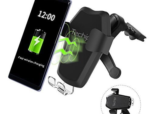 Wireless Car Charger, Techip Fast Wireless Charger Car Mount with 2 in 1 Function Air Vent Holder for Samsung Galaxy Note 8/ S7/ S7 Edge/ S6 Edge, iPhone 8/ 8 Plus/ X and Other Qi-enabled Devices