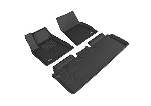 3D MAXpider L1TL00001509 Complete Set Custom Fit All-Weather Floor Mat for Select Tesla Model S Models – Kagu Rubber Black