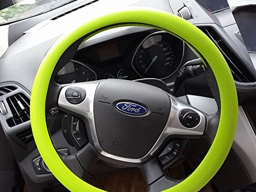 OHF Steering Wheel Cover Auto Car Silicone Great Grip Anti-slip Steering Cover for Diameter 36-38cm/14-15inch Grass Green