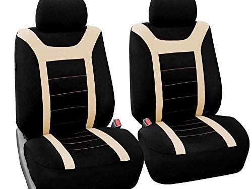 Fit Most Car, Truck, Suv, or Van – FH GROUP FH-FB070102 Sports Fabric Pair Set Car Seat Covers Airbag Compatible, Beige / Black