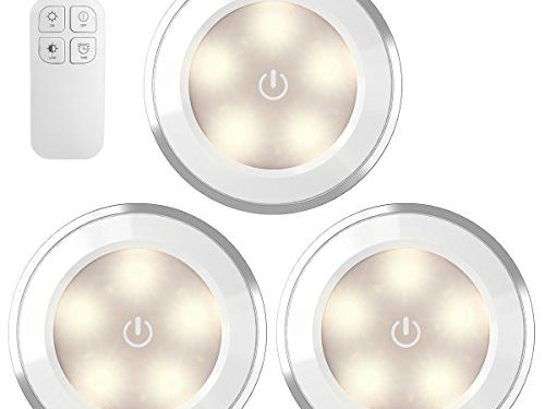 AMIR Wireless LED Puck Light 3 Pack With Remote Control , Under Cabinet Lighting , Closet Night Light, Touch Switch Energy Saving Night Light for Bedroom, Lockers, Hallway, StairBattery Not Included