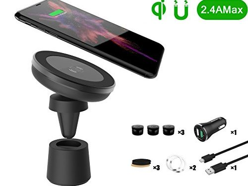 QI Wireless Car Charger WYNK 2-in-1 Magnetic Car Mount Phone Holder Air Vent/Dashboard/Desktop for Samsung Galaxy Note 8/S8/S8+ iPhone 8/iPhone 8 Plus Qi Enabled Devices Black