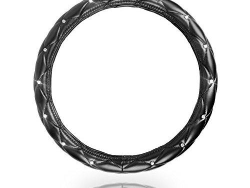 Sino Banyan Girly Diamond Steering Wheel Cover Universal 15 inch,Black