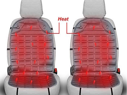 Zento Deals 12V Gray Warm Cushion Heated Car Seat Cover 2 Pack