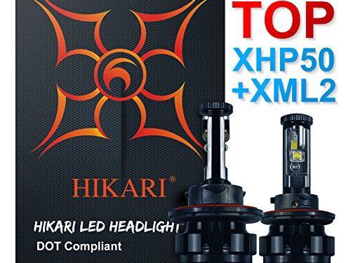 HIKARI LED Headlight Bulbs Conversion Kit -9004HB1,TOP CREE XHP50+XM-L2 9600lm 6K Cool White CREE,2 Yr Warranty