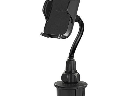Macally Car Cup Holder Phone Mount with Longer Neck & 360° Rotatable Cradle for iPhone X 8 8 Plus 7 7+ 6s 6 SE, Samsung Galaxy S8 S7 Edge S6 Note 5, Smartphones, GPS etc. MCUPXL