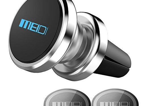 Air Vent Phone Holder, MEIDI Universal Magnetic Phone Car Mount 360 Rotation Cell Phone GPS Holder for iPhone Samsung HTC and Mini TabletsSilver