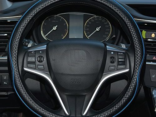 Rueesh Microfiber Leather Car Steering Wheel Cover, Soft Padding, Durable, No Smell, Universal 15 Inch Steering Cover, Anti-slip Embossing Pattern A, Black with Blue Line