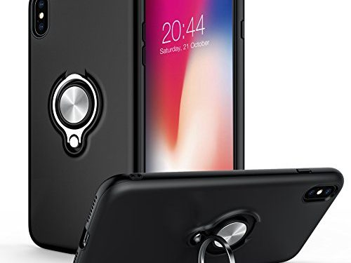 Black – iPhone X Case, iCaber New Design 360 Degree Rotating Ring Holder Grip Case Dual Layer Protective Cover for iPhone X 2017