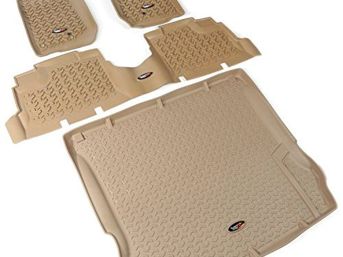 Rugged Ridge All-Terrain 13988.04 Tan Front, Rear and Cargo Floor Liner Kit For Select Jeep Wrangler Unlimited Models