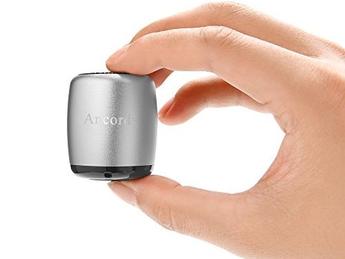 Ancord Micro Bluetooth Speaker TWS System Portable Tiny Body Loud Voice Shutter Button Selfie Features Silver