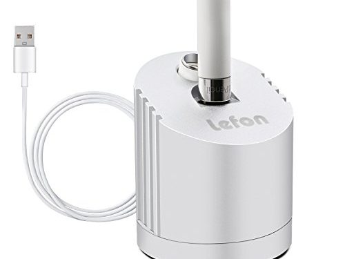 Apple Pencil Charger, LEFON Apple Pencil Stand, Apple 12.9 inch 9.7 inch iPad Pro Pencil Stand, Apple Pencil Charging Dock/Station Aluminium, Silvery with Built-in Charging Cable5FT