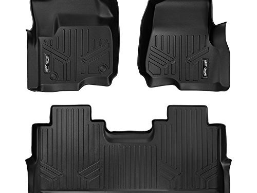 MAXFLOORMAT Floor Mats 2 Row Set Black for 2017 Ford F-250/F-350 Super Duty Crew Cab With 1st Row Row Bucket Seats