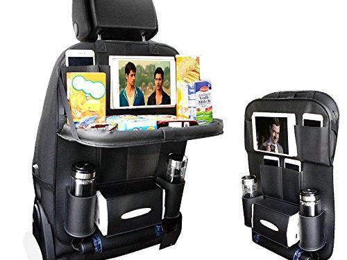 2017 NEW Backseat Car Organizer for Baby Stroller & Kid Travel Accessories, iPad /Tablet Holder, Wet Wipes Tissue Compartment Stretchy Storage Pockets. Kick Mat Seat Back Protector Black