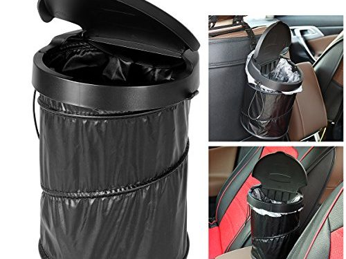 WINOMO Portable Car Trash Can Waterproof Collapsible Trash Bin Garbage Container with Garbage Bags