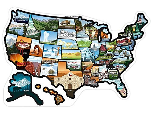 RV State Stickers United States Travel Camper Map, 21″ x 14.5″ ~ RV Decals for Window, Door, or Wall ~ Includes 50 State Decal Stickers With Scenic Illustrations