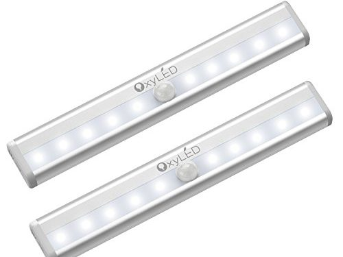 OxyLED Motion Sensor Lights, Cordless Closet Light Under Cabinet Lightening, Stick-on Wireless Wardrobe Light, Battery Operated 10 LED Night Light Bar, Safe Lights for Stairs, Bed, 2 Pack