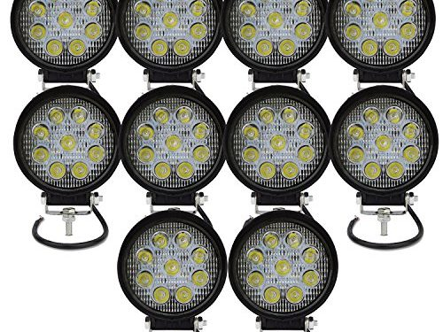 AUXTINGS 4 inch 27W Flood LED Work Light Bar Off Road Car Driving Lamp for Jeep Cabin Boat SUV Truck Car ATV Vehicles Marin,10 Piece18W,6000K,Round
