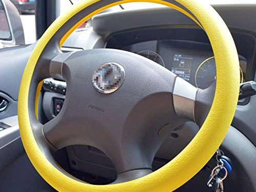 OHF Steering Wheel Cover Auto Car Silicone Great Grip Anti-slip Steering Cover for Diameter 36-38cm/14-15inchYellow