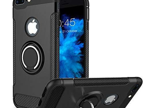 iPhone 8 Plus Case, iPhone 7 Plus Case, Vafru 360 Degree Rotating Ring Holder Grip Case Dual Layer Protective Cover for iPhone 8 Plus / iPhone 7 Plus Black
