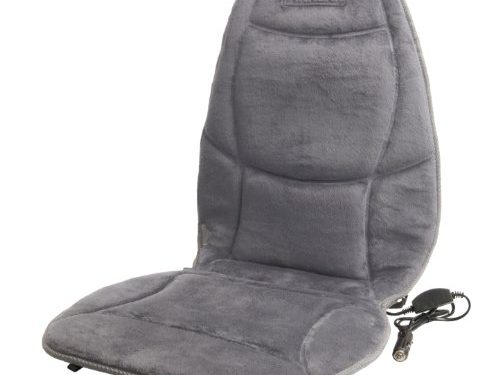 Wagan IN9438-2 12V Heated Seat Cushion with Lumbar Support Gray Velour