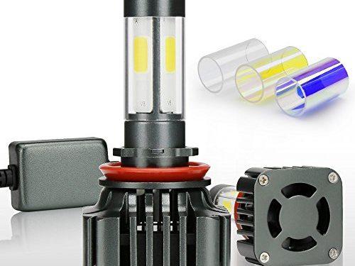 Zdatt 12000LM H11 LED Headlight Bulbs Super Bright 100W H8 H9 Fog Lights Conversion Kits 360 Degree4 Sides Lighting Lamps for Car Light Replacement-3000K Yellow/6000K Cool White/8000K Blue2 Pack