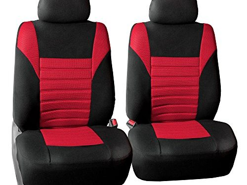 FH GROUP FH-FB068102 Premium 3D Air Mesh Seat Covers Pair Set Airbag Compatible, Red / Black Color- Fit Most Car, Truck, Suv, or Van