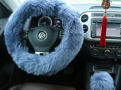 Ogrmar Winter Warm Faux Wool Steering Wheel Cover with Handbrake Cover & Gear Shift Cover for 14.96″ X 14.96″ Steeling Wheel in Diameter 1 Set 3 Pcs Grey-blue