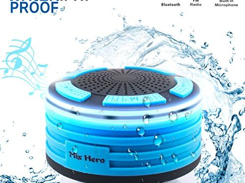 Wireless Waterpoof Bluetooth Speaker Shower Radios with Light, Built in FM Radio and Super Bass, Small Portable Speaker for Bathroom, Outdoor, Car, Beach, Pool