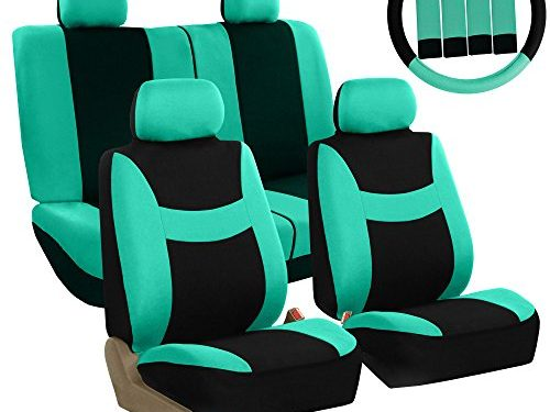 FH GROUP Stylish Cloth Full Set Car Seat Covers Airbag & Split Ready Combo-FH2033 Steering Wheel & Seat Belt Pads, Mint / Black Color- Fit Most Car, Truck, Suv, or Van