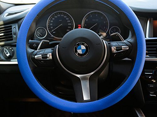OHF Steering Wheel Cover Auto Car Silicone Great Grip Anti-slip Steering Cover for Diameter 36-38cm/14-15inchDeep Blue