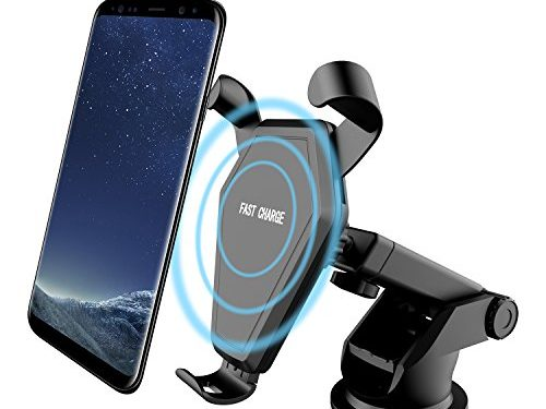 Wireless Car Charger, Qi Fast Charger Air Vent Phone Holder Car Mount for Samsung Galaxy S8/S8 Plus/S7 Edge/S6 Edge Plus/Note 5, Standard Charger for iPhone 8/8 Plus/X and Qi-Enabled Devices black