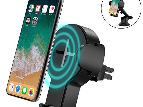 Wireless Car Charger, Steanum Qi Fast Wireless Charger Air Vent Car Mount Holder Cradle for Samsung Galaxy Note 8/S8/S8+/S7/S6 Edge+/Note 5, Standard Wireless Charger for iPhone X, iPhone 8/ 8 Plus