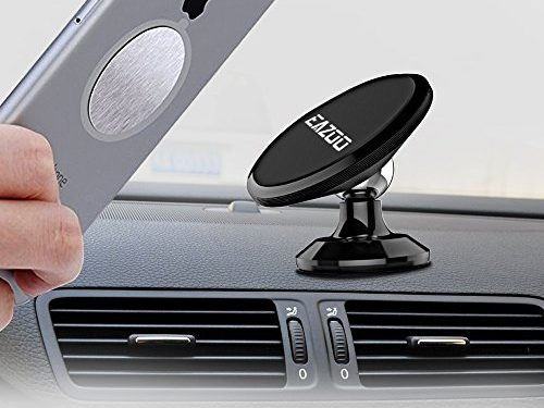 Eazoo Magnet Car Phone Mount Holder, Smart Port Car Charger, Lightning and Micro USB Cable, 3 in 1 Gift Set, for iPhone iPad Samsung Galaxy HTC Motorola Nokia Uber Lyft Driver Accessories