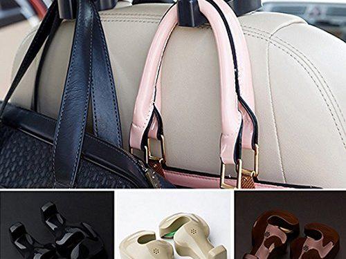 Spotest Car hooks headrest hangers , Unique Bargains Pair Gray Plastic Car Seat Headest Hanger Bags Oranizer Hook Holder hang purse or grocery bags Black