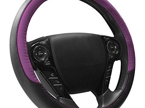 Purple and Black – COFIT Breathable and Non Slip Microfiber Leather Steering Wheel Cover Universal 15 Inch