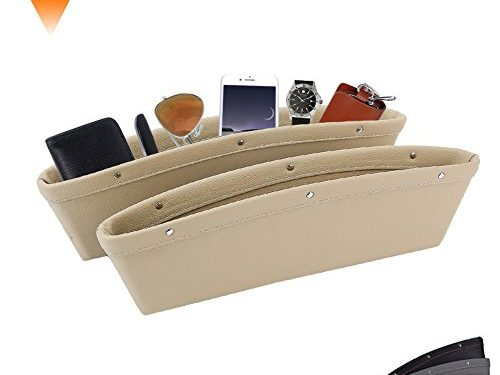 Car Seat PU Leather Console Gap Filler Side Pocket and Catcher Organizer Interior Accessories,Set of 2 Beige