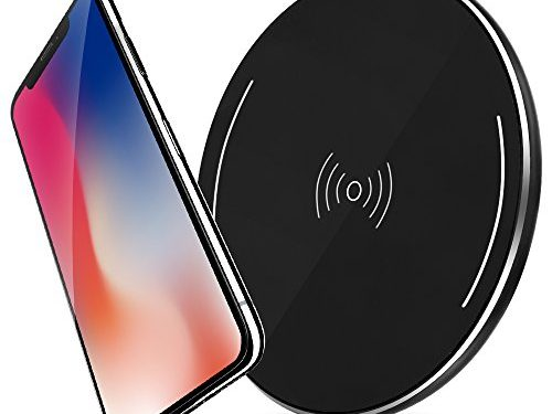 iPhone X Wireless Charger, Qi Wireless Charger Pad with Anti-Slip Rubber for iPhone 8 iPhone X Samsung Galaxy S8 Note 8 and All Qi-Enabled Devices Quick Charger PadBlack