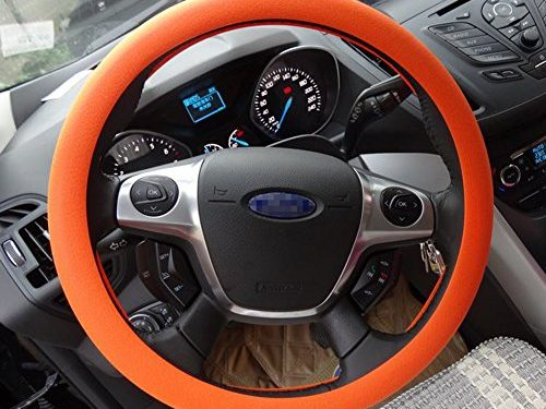 OHF Steering Wheel Cover Auto Car Silicone Great Grip Anti-slip Steering Cover for Diameter 36-38cm/14-15inch Orange