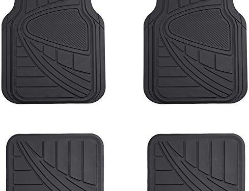 AmazonBasics 4 Piece Car Floor Mat, Black