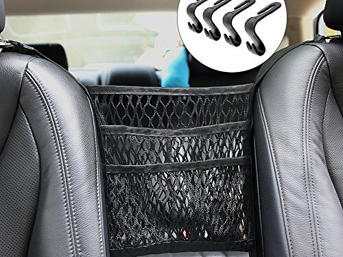Car Organizer, BESWILL Car Mesh Organizer 3-layer with 4 Headrest Hooks and 2 Carabiners,Barrier for backseat Pet Kids